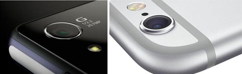 Внешний вид камер Sony z3 и iophone 6