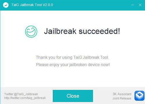 Окно окончания работы TaiG Jailbreak Tool