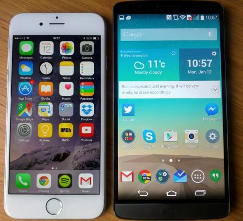 Зрительное сравнение iPhone 6 и Lg g 3