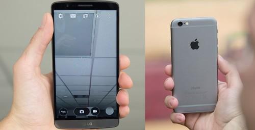 Lg g3 и iPhone 6 держат в руках
