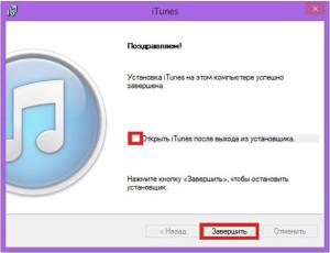 Установка iTunes успешно завершена