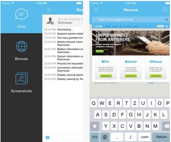 Работающая программа Rescue+Mobilefor iOS на экране iPhone