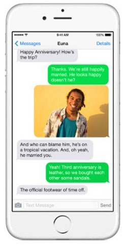 Одна переписка на iPhone 6 с использованием разных сервисов обмена сообщениями