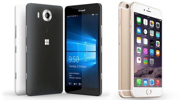 iPhone 6 и Microsoft - смартфоны-вид спереди и сзади