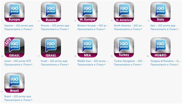 igo имеет одиннадцать приложений для разных стран