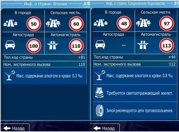 Информацию о новой стране, дорожных знаках предоставляет приложение igo