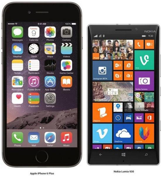 iPhone 6 Plus и Nokia lumia