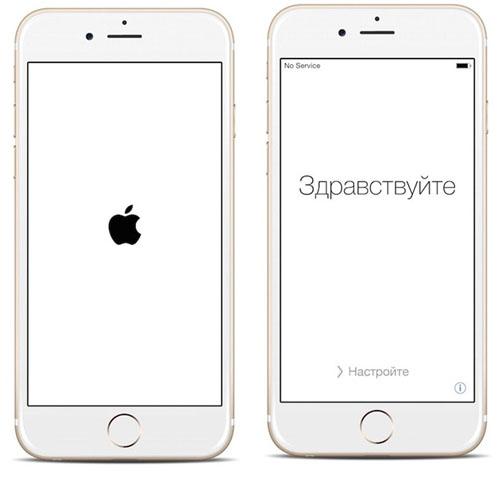 Логотип и приветствие на экранах iPhone 6