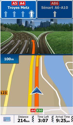 Схематическое изображение проезда в программе igo