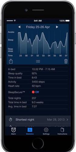 Показ работы приложения SleepCycle