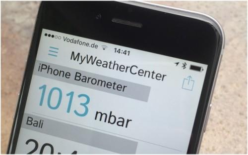 На iPhone 6 установлено приложение барометр