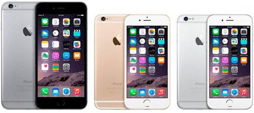 iPhone 6 в двух цветовых исполнениях и iPhone 6 plus