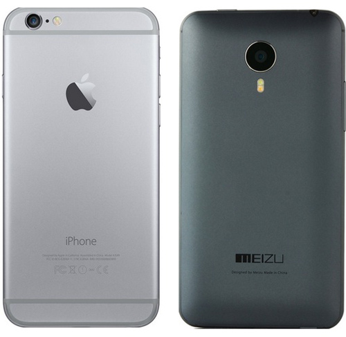 Вид задней панели meizu mx4 и iphone 6