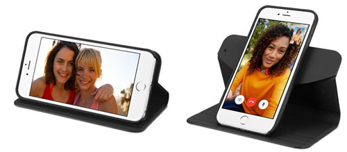 Чехол Vettra фиксирует iPhone в 2х положениях-вертикальном и горизонтальном