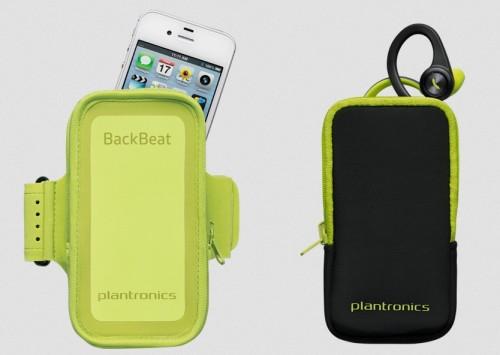 Чехол, наушники BackBeat Fit зеленого цвета и iPhone 6