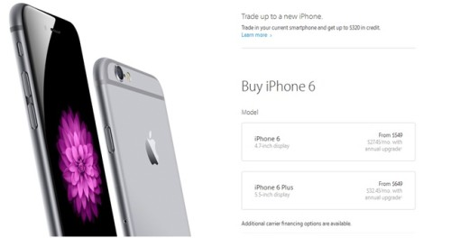 Цена iPhone 6 и iPhone 6 Plus в Америке