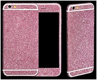 Розовая алмазная крошка - накладка для iPhone