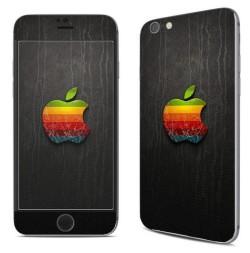 Кожаная наклейка для iphone с цветным логотипом-яболоком