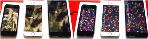 На экранах iPhone обрывки игр и картинок