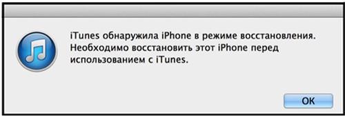 Обнаружен iPhone в режиме восстановления