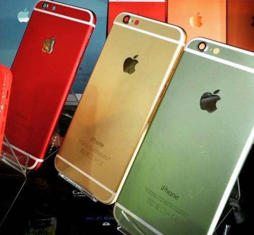 Желтый, красный и зеленый цвет айфона 6