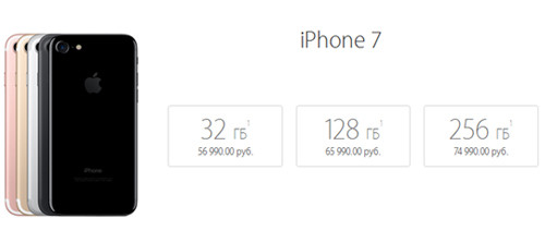 Цены на iPhone 7 с разной памятью