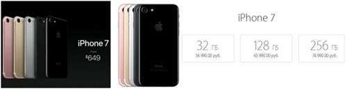Стоимость iPhone 7 в рублевом эквиваленте