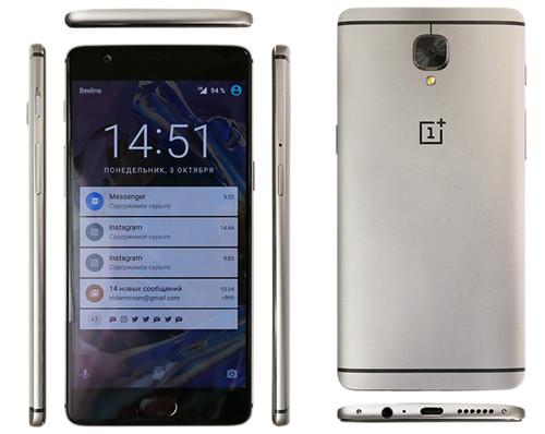 Вид сзади, спереди и сбоку смартфона OnePlus 3