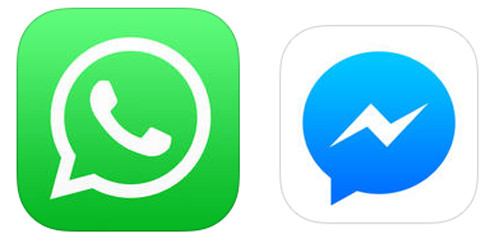 Логотипы WhatsApp и Facebook messengere