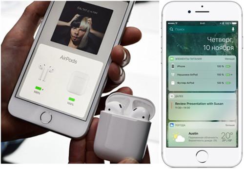 Экран iPhone и AirPods