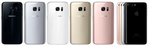 Цвета Samsung S7 и iPhone 7
